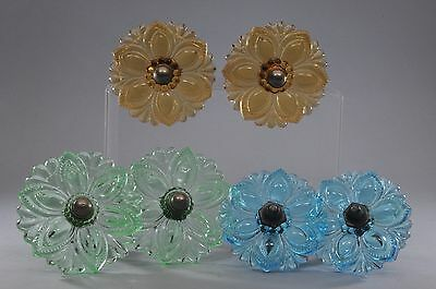 3 Pairs Antique Glass Curtain Pull Tie Backs Blue, Green & Amber