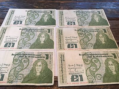 6 IRELAND  Banknote 1 Pound Nice Circulated Notes
