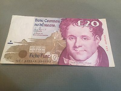 IRELAND  1993 20 Pounds - Better Quality Circulated Note