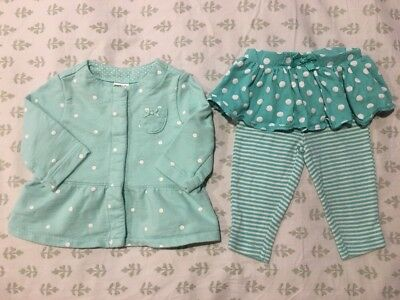 Carter's Infant Baby Girl's 2-Piece Turquoise Outfit Set Size 3 Months VGUC!