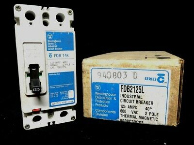 New WESTINGHOUSE FDB125L 125 AMP Circuit BREAKER 600VAC 2 POLE THERMAL MAGNETIC