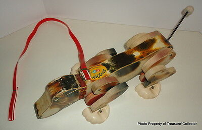 Vintage Fisher Price Snoopy Dog Pull Toy 1961 #181