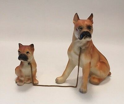 Adult BOXER & PUPPY Vintage JAPAN Pottery FIGURINES