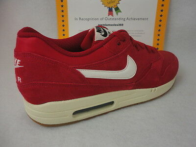 best authentic e2932 672dd Nike Air Max 1 Essential, Suede, Gym Red   Sail   Black, Size