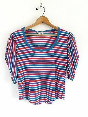 Vtg 1980's Valley Girl Striped Puff Sleeves New Wave 80s Retro Glam Top Shirt M