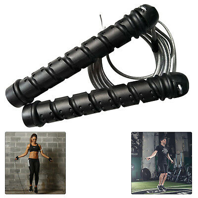 Pro Weighted Speed Cable Skipping Jumping Rope Boxing Mma Fitness Gym Jump Uk