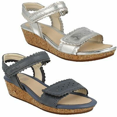 75ad661545f Girls Clarks Harpy Myth Leather Open Toe Riptape Strap Summer Wedge Sandals  Shoe