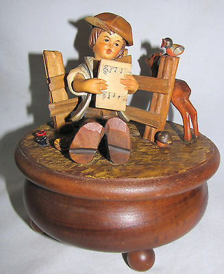 ANRI Wood Carved MUSIC BOX Boy w/ Music Thorens  OH WHAT A BEAUTIFUL MORNING