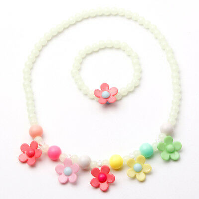 Children Gift Cute Jewelry Set Girls Necklace Luminous Bracelet Flower Acrylic