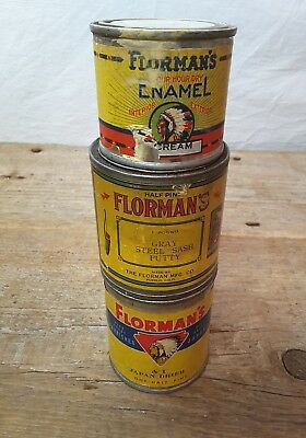 FLORMAN'S Advertising Tins Indian Logo Japan Drier Putty Pueblo CO 1892-1930's