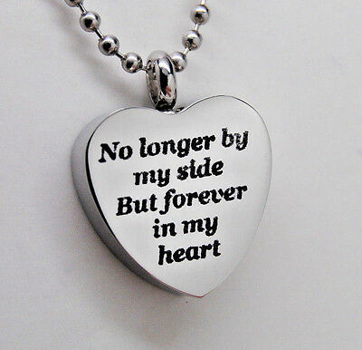 No Longer By My Side but FOREVER in My HEART Cremation Urn Necklace Jewelry Urns