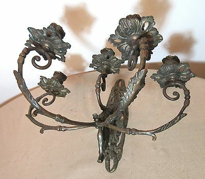 large antique ornate Victorian gilt bronze wall candle holder sconce fixture 1