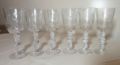 lot of 6 antique clear cut glass etched crystal cordial stems glasses chalices