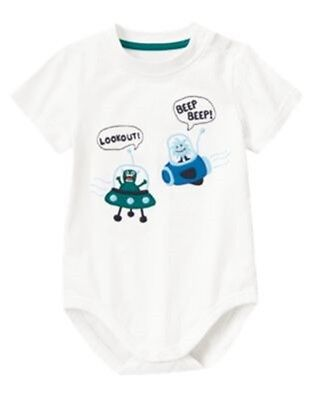 NWT 3-6 Months Gymboree SPACE VOYAGER White Alien Spaceship S/S Shirt Bodysuit