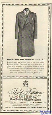 1942 Brooks Brothers Fashion~Salisbury Overcoat 1940s Men's Coat Fashion Ad