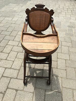 Antique Victorian Adjustable Child's High Chair Stroller Combination Cane Seat
