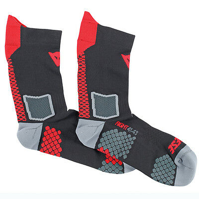 Dainese D-Core Black / Red Motorcycle Motorbike Unisex Mid Socks All Sizes