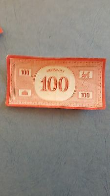 Monopoly Money $100 notes x 4 - Vintage - Parker Brothers