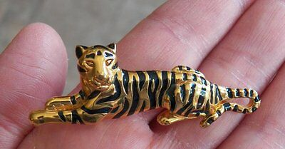 Striped TIGER Pin Brooch~Gold/Blue/Black~Metal Enamel Vintage?