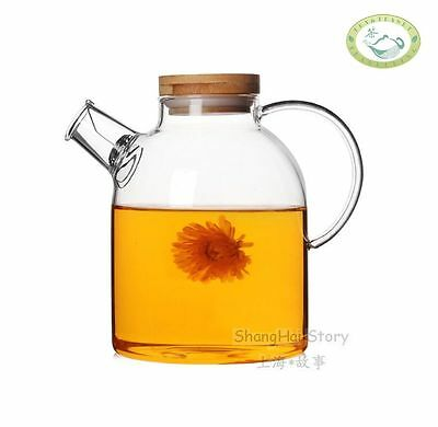 Glass Teapot Heat Resistant Tea Kettle with Bamboo Lid  1600ml 56oz