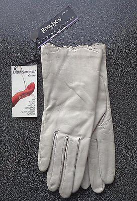 NEW - Vintage Fownes UltraNaturals Ladies Ivory Leather & Silk Gloves Size 7 1/2