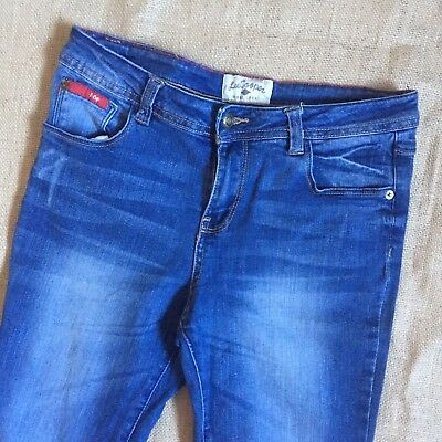 Girl's Lee Cooper Flare Low Rise Stretch Jeans Size 12 Faded Distressed SK316