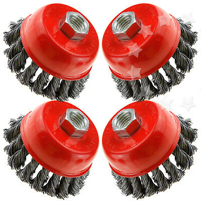 4x 3 inch Angle Grinder Twist Knot Wire Wheel Cup Brush Kit UK M14