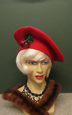 1940S Red Felt Hat With Cherry Decoration