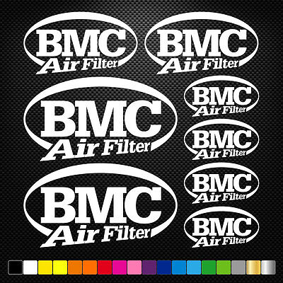 8x BMC AIR FILTER Vinyl Decal Stickers Sheet Motorcycle Sponsors Auto Tuning