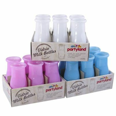 36 x Mini 200ml Colour Glass Soda & Milk Juice Bottles Wedding Jar Favours