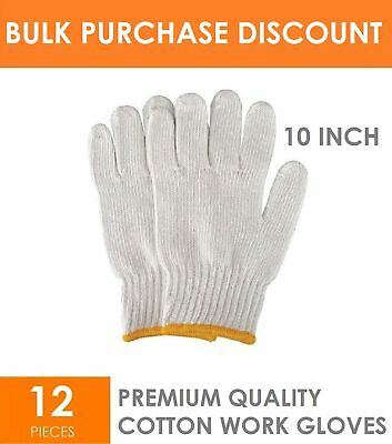 72 x Pairs of Multi Purpose Safety Protective Cotton Working Work Gloves 10inch