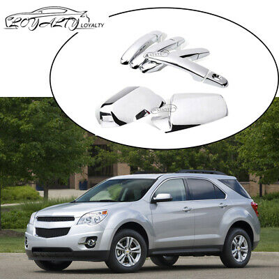 For 2010-2017 Chevy Equinox Chrome Side view Mirror+4 Door Handle Cover W/1 KH