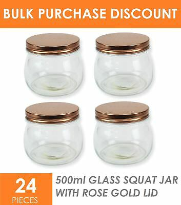 24 x 500ml Rose Gold Squat Small Glass Jars with Lid Spice Canister Conserve Jar