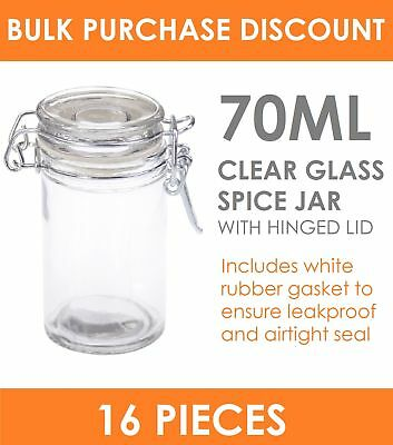16 x 70ml Mini Spice Jar with Clip Lid - Glass Jam Jars Bottle Storage Container