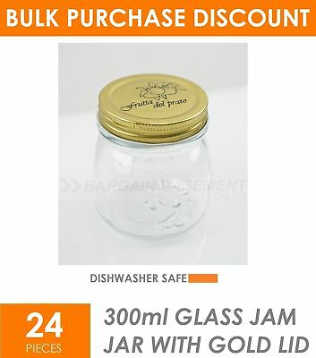 BULK BUY 24 x 300ml Small Glass Jars with Lid  Conserve Preserving Spice Jam Jar