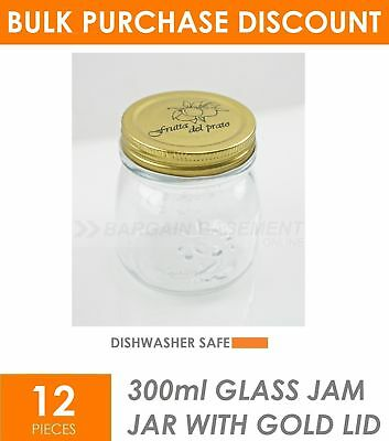 BULK BUY 12 x 300ml Small Glass Jars with Lid Conserve Preserving Spice Jam Jar