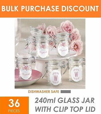 36 x 240ml Glass Jar with Lid - Party Wedding Favours Gift Bomboniere Lolly Jars