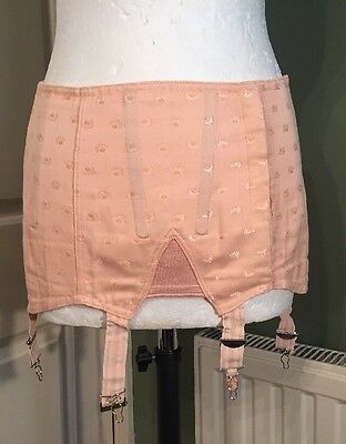 Vintage 1950's French Peach Short Lace Up Girdle Corset Small 8 10