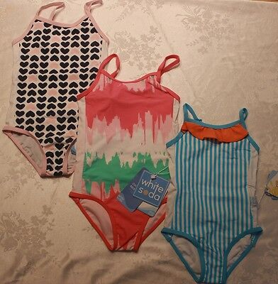 Girls White Soda Bathers Swimsuit Togs One Piece Size 2 3 4 5 6 7 8 Rrp$37.95