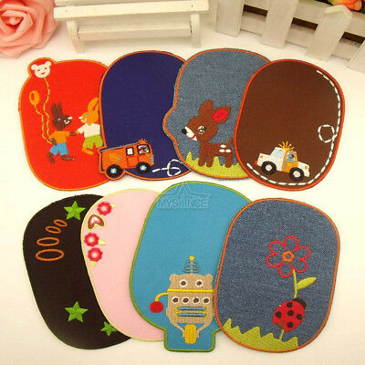 Embroidery Iron On Sew On Elbow Knee Repair Denim Dress Patches Applique Craft
