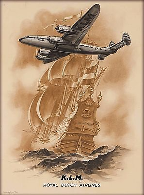KLM Holland Royal Dutch Airlines Vintage Airline Netherlands Travel Art Poster