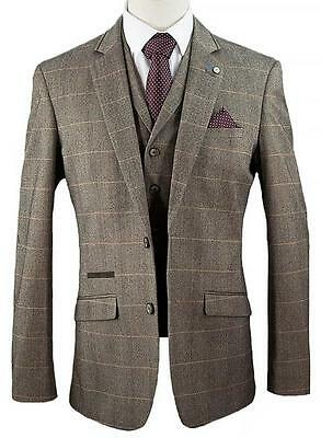 Designer Men's Herringbone Checked Vintage Peaky Blinder Suit Tan Brown-Wedding