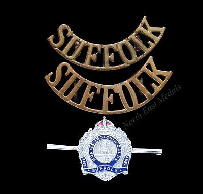 Two Different Suffolk Regiment Shoulder Title Badges and a Sweetheart Brooch