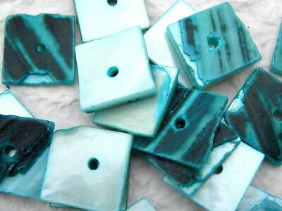 30 Aqua & Black Squared Pearly Shell Chips Beads with Drilled Hole
