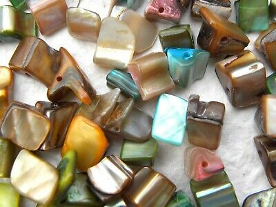 50 Mixed Colour Pearly Shell Irregular Chunks Beads with Drilled Hole
