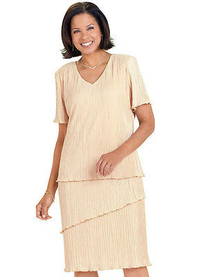 daad97a8d15 RM Richards NEW 20W Figure Flattering Champagne Shimmer Pleat Tier 2-Piece  Dress