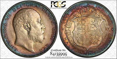 1903 Half Crown, PCGS AU50, Superb and Extremely Rare Edward VII Silver