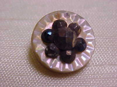 Victorian Mother Of Pearl Shell hand Carved Steel Center Flower Clothes Button