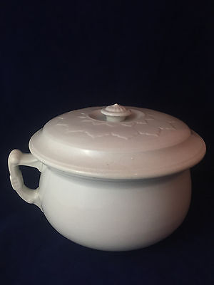 Chamber Pot with lid, John Moses & Sons Co. Ironstone China decorative petal top