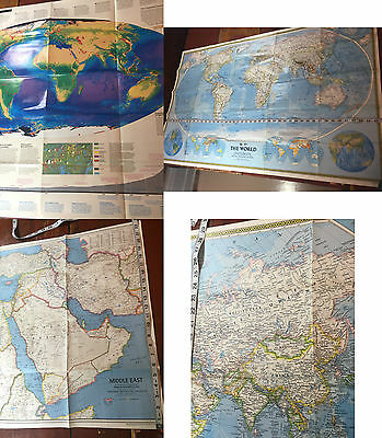 Two World Map and Middle East National Geographic maps 1978-1988 lot of THREE